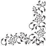 Diseño floral adornado negro aislado en blanco Fotos de archivo libres de regalías