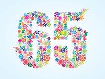 Diseño floral colorido de 65 números del vector aislado en el fondo blanco Tipografía floral del número sesenta y cinco stock de ilustración