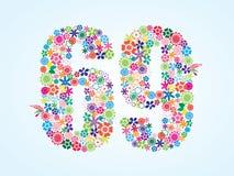 Diseño floral colorido de 69 números del vector aislado en el fondo blanco Tipografía floral del número sesenta y nueve libre illustration