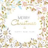 Diseño floral de la Feliz Navidad y del oro del Año Nuevo Fotografía de archivo libre de regalías