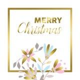 Diseño floral de la tarjeta de felicitación del oro de la Feliz Navidad Fotos de archivo libres de regalías