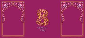 Diseño floral de la tarjeta de felicitación del día para mujer feliz Imagenes de archivo