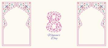Diseño floral de la tarjeta de felicitación del día para mujer feliz Imágenes de archivo libres de regalías