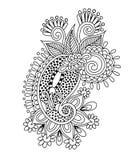 Diseño floral de Paisley de la alheña, decoratio del dibujo de la mano stock de ilustración