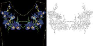 Diseño floral del bordado ilustración del vector