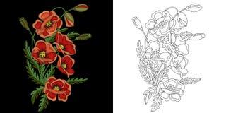 Diseño floral del bordado libre illustration