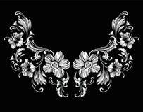 Diseño floral del bordado del cuello en estilo barroco ilustración del vector
