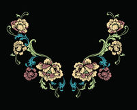 Diseño floral del bordado del cuello en estilo barroco libre illustration