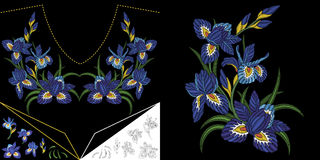 Diseño floral del escote del bordado libre illustration