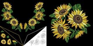 Diseño floral del escote del bordado stock de ilustración