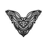 Diseño floral del escote del vector para la moda Impresión del cuello de las flores y de las hojas Adorno del cordón del pecho foto de archivo