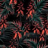 Diseño floral del estilo de la acuarela del vector inconsútil del modelo: suculento en la floración con las flores y las hojas de libre illustration