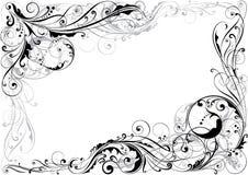 Diseño floral del remolino de la esquina stock de ilustración