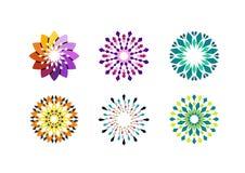 Diseño floral del vector del logotipo del círculo Fotografía de archivo libre de regalías