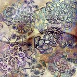 Diseño floral del vintage en fondo de la pendiente stock de ilustración