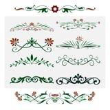 Diseño floral, elementos decorativos ornamentales libre illustration