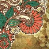 Diseño floral en fondo del grunge Foto de archivo libre de regalías