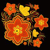 Diseño floral en rojo, amarillo y negro Imagen de archivo libre de regalías