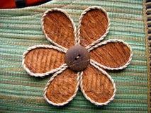 Diseño floral en un bolso hecho a mano Fotografía de archivo