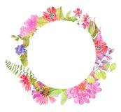 Diseño floral hermoso de la acuarela Foto de archivo libre de regalías