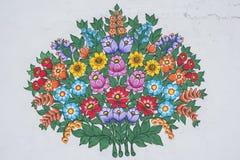 Diseño floral pintado a mano Imagenes de archivo