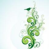 Diseño floral y del pájaro verde   libre illustration