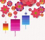 Diseño floreciente chino feliz oriental de las flores del Año Nuevo
