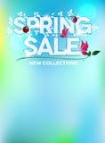 Diseño fresco azul de la venta de la primavera Imagenes de archivo