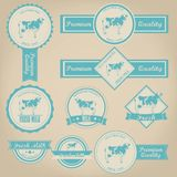 Diseño fresco de la etiqueta de la leche Imagen de archivo libre de regalías