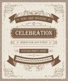 Diseño fresco del vintage de la celebración de la invitación del vector Imágenes de archivo libres de regalías