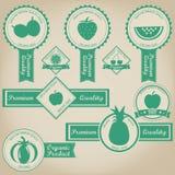 Diseño fresco y orgánico de la etiqueta de la fruta Foto de archivo libre de regalías