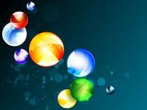 Diseño futurista del fondo geométrico multicolor del vector Bolas gráficas coloridas Círculos digitales abstractos de la forma EP stock de ilustración