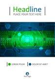 Diseño futurista verde A4 de la cubierta Vector Imagen de archivo libre de regalías