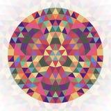 Diseño geométrico abstracto circular del caleidoscopio del triángulo - gráfico simétrico del modelo del vector de triángulos colo ilustración del vector