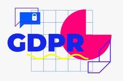 Diseño geométrico abstracto de regla de la protección de datos general fotografía de archivo