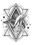 Diseño geométrico creativo del estilo del arte del tatuaje del delfín del océano del vector stock de ilustración