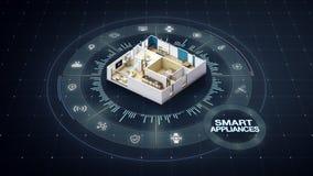Diseño giratorio de la casa, dispositivos elegantes, alrededor de diverso Internet del icono de los aparatos electrodomésticos de ilustración del vector