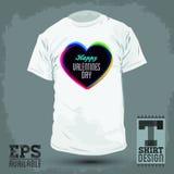 Diseño gráfico de la camiseta - día de tarjetas del día de San Valentín feliz Imagenes de archivo