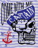 Diseño gráfico de la camiseta de capitán Compass Man del cráneo Foto de archivo libre de regalías