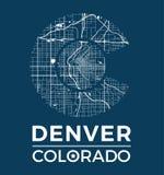 Diseño gráfico de la camiseta de Colorado con el mapa de la ciudad de Denver stock de ilustración