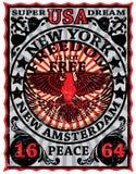Diseño gráfico de la camiseta de Eagle Poster Man del vintage de Nueva York Imágenes de archivo libres de regalías