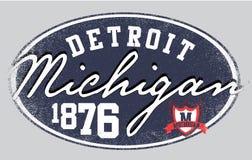 Diseño gráfico de la camiseta de la universidad del hombre de Michigan Detroita Fotos de archivo libres de regalías