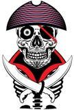 Diseño gráfico de la camiseta de Man Artwork del marinero del cráneo Fotografía de archivo libre de regalías