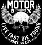 Diseño gráfico de la camiseta del club de la motocicleta de los jinetes de Nueva York Imagen de archivo libre de regalías