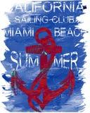 Diseño gráfico de la camiseta del club de la resaca de California Imagen de archivo libre de regalías