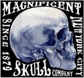Diseño gráfico de la camiseta del hombre de la acuarela del cráneo libre illustration