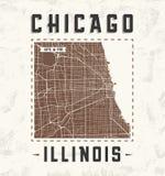 Diseño gráfico de la camiseta del vintage de Chicago con el mapa de la ciudad Imagen de archivo libre de regalías
