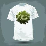 Diseño gráfico de la camiseta - Piensa Verde - piense el texto español verde ilustración del vector