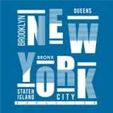 DISEÑO GRÁFICO DE LA CAMISETA DE LA TIPOGRAFÍA DE NEW YORK CITY ilustración del vector