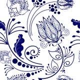 Diseño gráfico de la flor botánica china oriental para el adorno en modelo inconsútil del estilo de la porcelana libre illustration